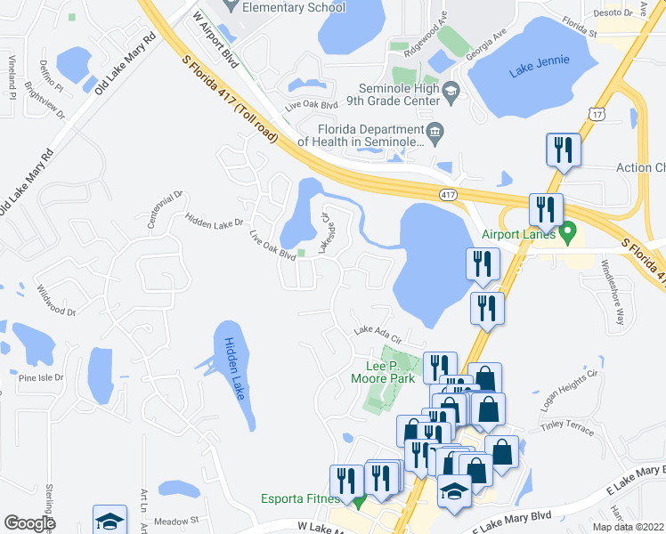 map of restaurants, bars, coffee shops, grocery stores, and more near 276 Live Oak Boulevard in Sanford
