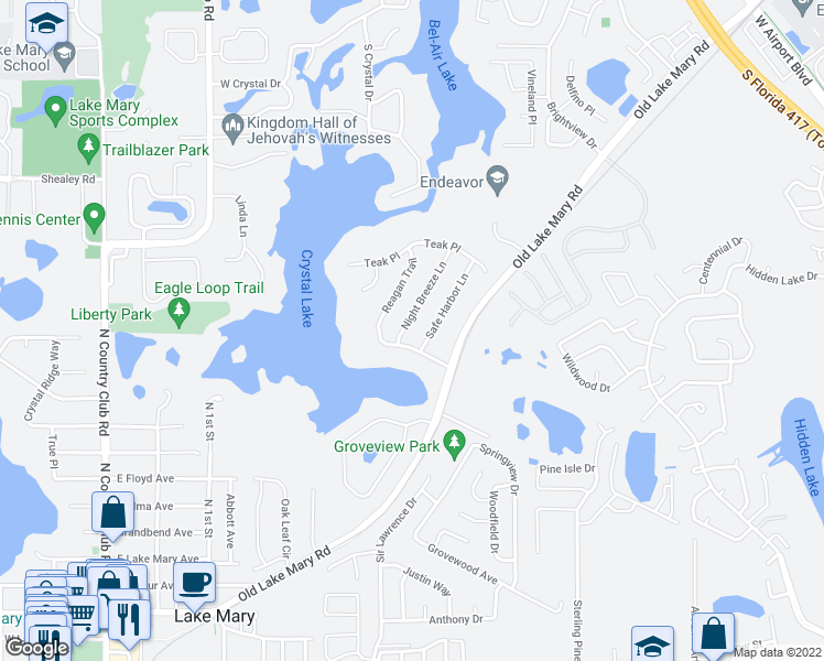 map of restaurants, bars, coffee shops, grocery stores, and more near 3273 Night Breeze Lane in Lake Mary