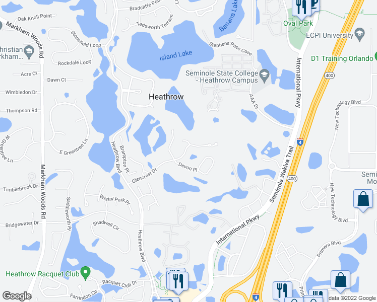 map of restaurants, bars, coffee shops, grocery stores, and more near 1275 Glencrest Drive in Lake Mary