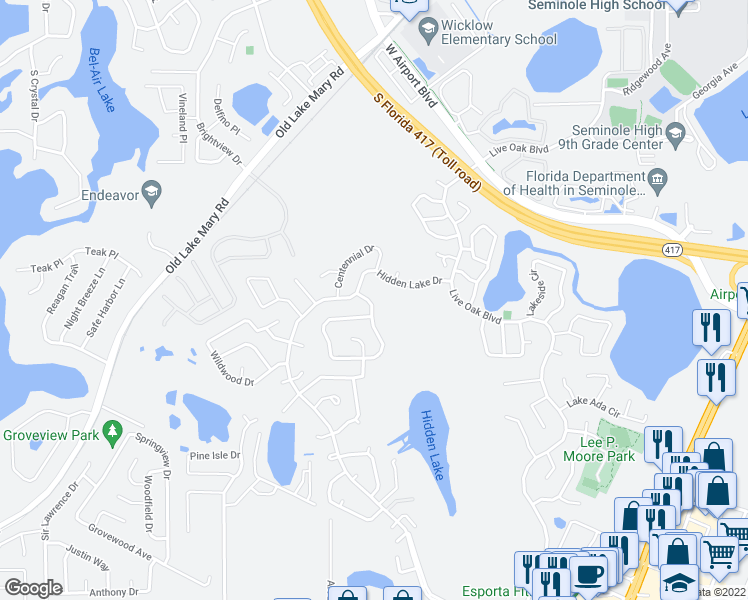 map of restaurants, bars, coffee shops, grocery stores, and more near 127 Borada Road in Sanford