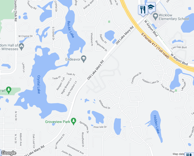 map of restaurants, bars, coffee shops, grocery stores, and more near 2765 Falcon Crest Place in Lake Mary