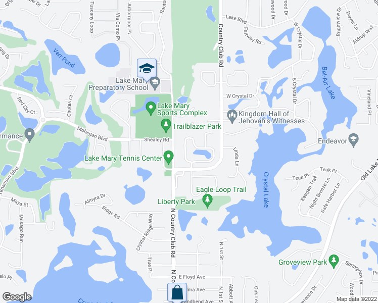 map of restaurants, bars, coffee shops, grocery stores, and more near 159 Oak View Circle in Lake Mary