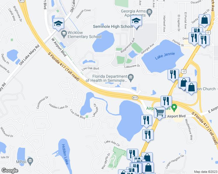 Map Of Sanford Florida.500 West Airport Boulevard Sanford Fl Walk Score