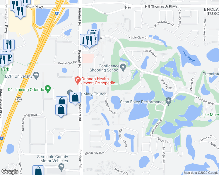 map of restaurants, bars, coffee shops, grocery stores, and more near 673 Pickfair Terrace in Lake Mary