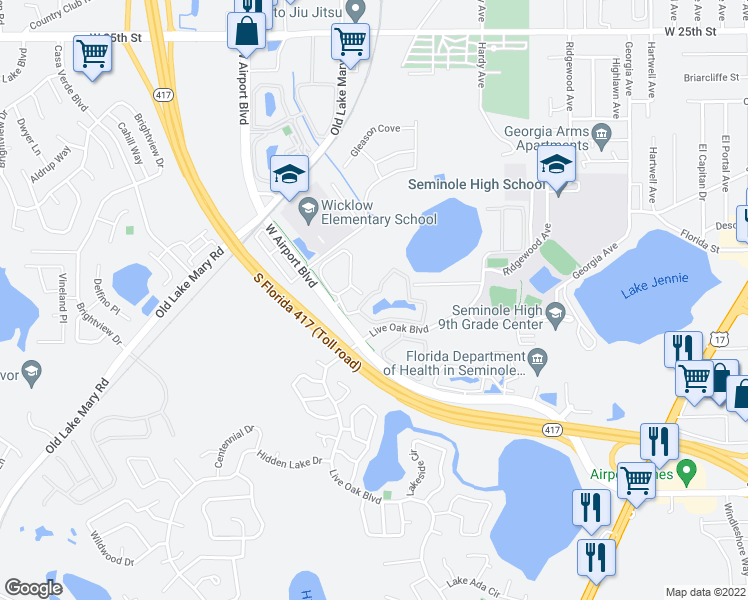 map of restaurants, bars, coffee shops, grocery stores, and more near 1000 Stonebrook Drive in Sanford