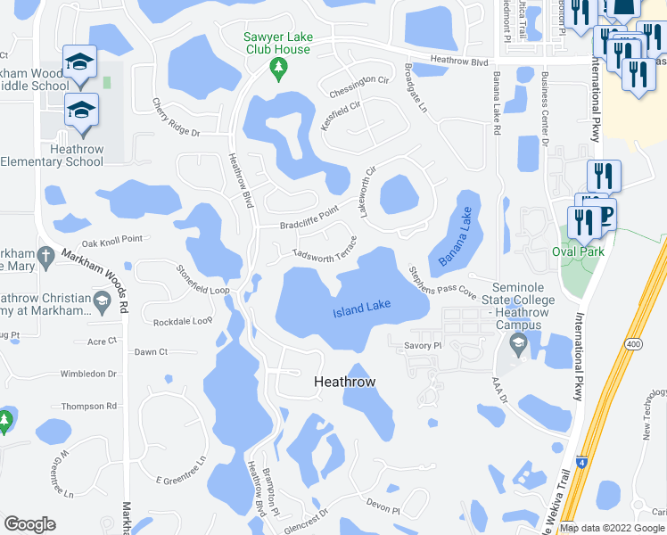 map of restaurants, bars, coffee shops, grocery stores, and more near 1301 Tadsworth Terrace in Lake Mary