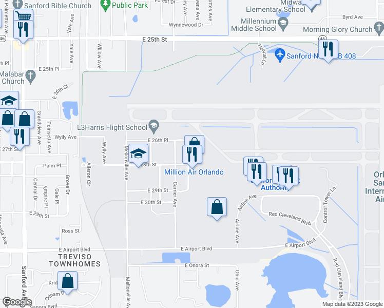 Sanford Florida Map.2749 Flight Line Avenue Sanford Fl Walk Score