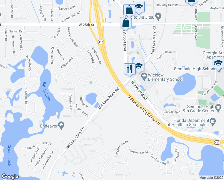 map of restaurants, bars, coffee shops, grocery stores, and more near 5021 Kirkland Way in Lake Mary