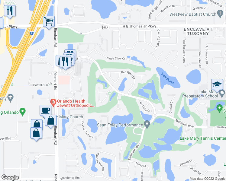 map of restaurants, bars, coffee shops, grocery stores, and more near 471 Arrowmount Place in Lake Mary