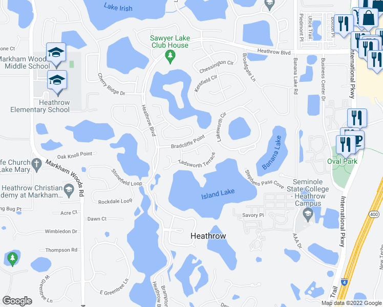 map of restaurants, bars, coffee shops, grocery stores, and more near 1200 Tadsworth Terrace in Lake Mary