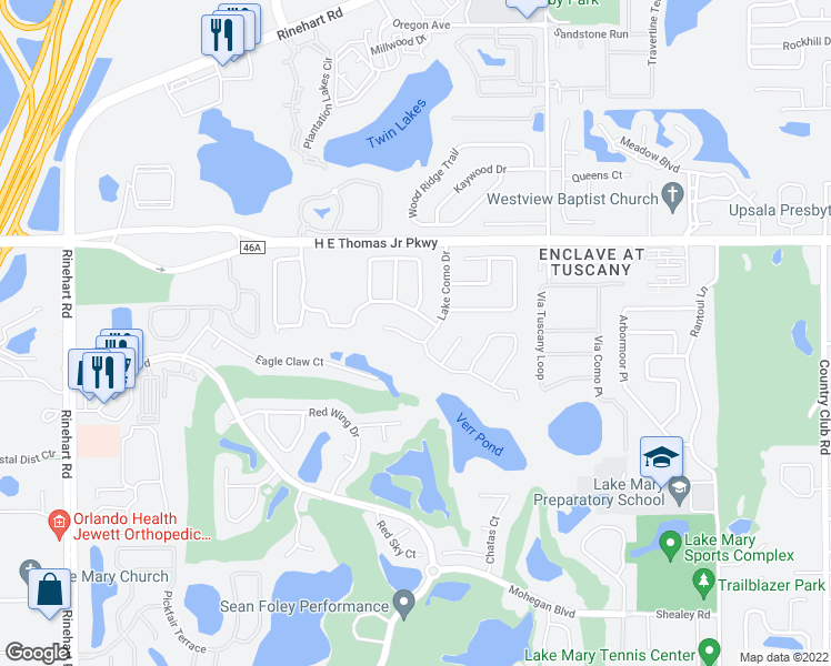 map of restaurants, bars, coffee shops, grocery stores, and more near 403 Cinnamon Oak Court in Lake Mary