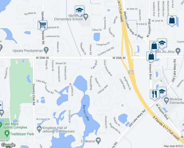 map of restaurants, bars, coffee shops, grocery stores, and more near 162 Brightview Drive in Lake Mary