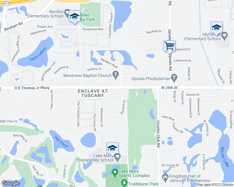 map of restaurants, bars, coffee shops, grocery stores, and more near 204 Dorchester Square in Lake Mary