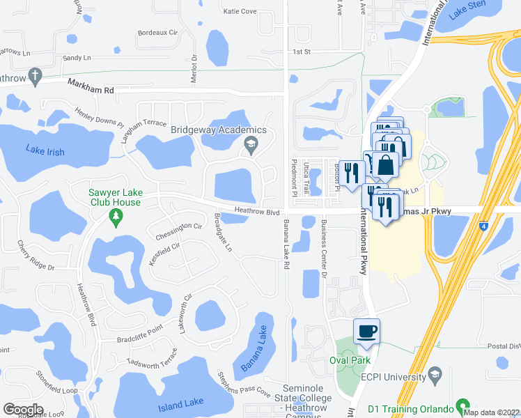 map of restaurants, bars, coffee shops, grocery stores, and more near Saint Albans Loop in Lake Mary