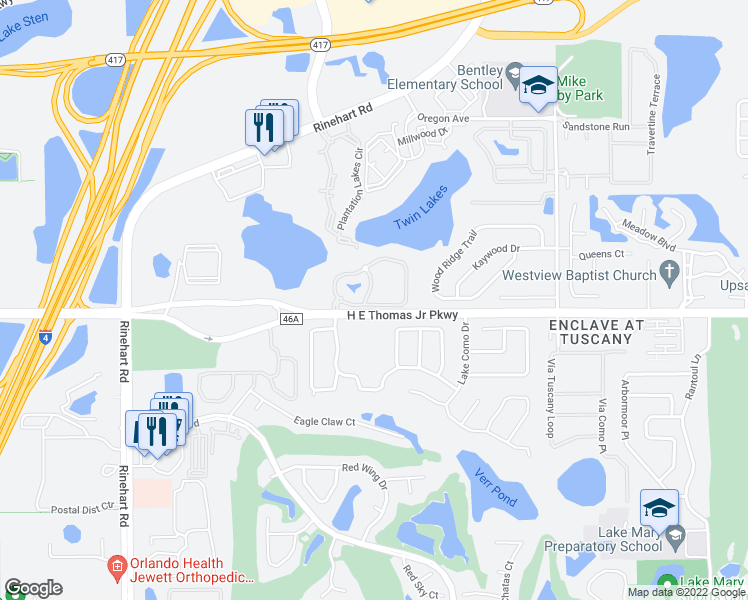 map of restaurants, bars, coffee shops, grocery stores, and more near 2224 Arbor Lakes Circle in Sanford