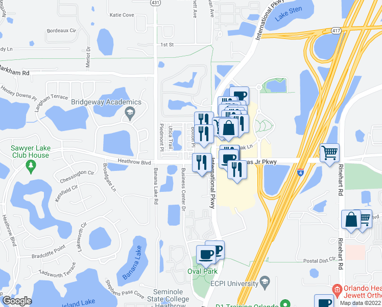 map of restaurants, bars, coffee shops, grocery stores, and more near 729 Greybull Run in Lake Mary