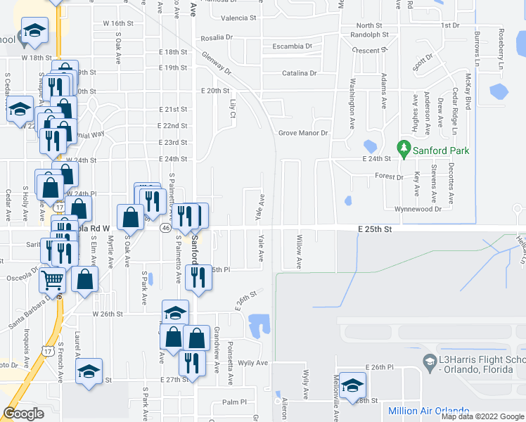 map of restaurants, bars, coffee shops, grocery stores, and more near 2433 Yale Avenue in Sanford
