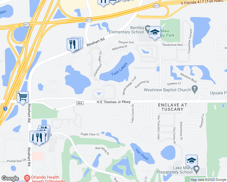 map of restaurants, bars, coffee shops, grocery stores, and more near 1823 Arbor Lakes Circle in Sanford