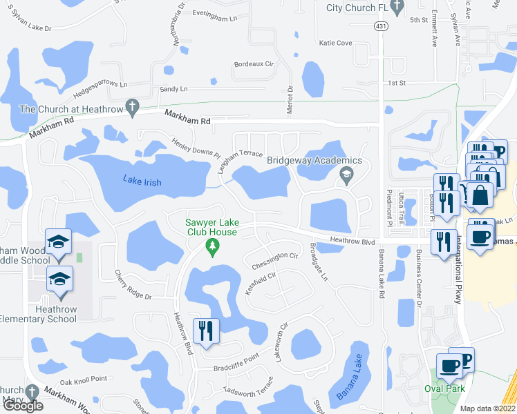 map of restaurants, bars, coffee shops, grocery stores, and more near 1424 Langham Terrace in Lake Mary