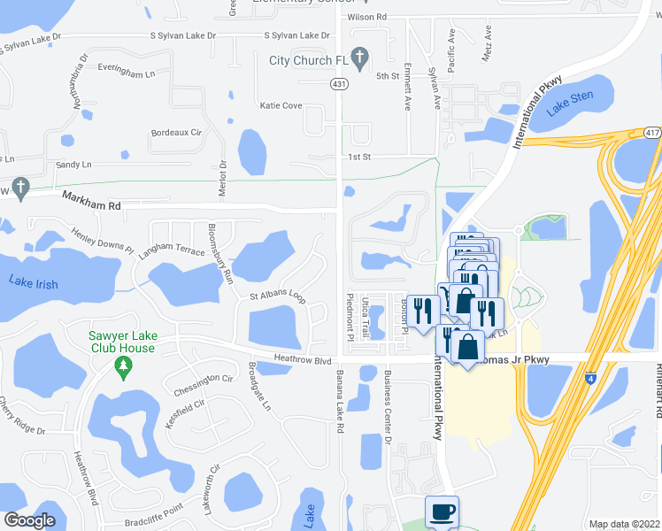 map of restaurants, bars, coffee shops, grocery stores, and more near 1185 Pallister Lane in Lake Mary
