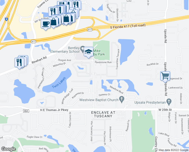 map of restaurants, bars, coffee shops, grocery stores, and more near 1004 Gemstone Cove in Sanford