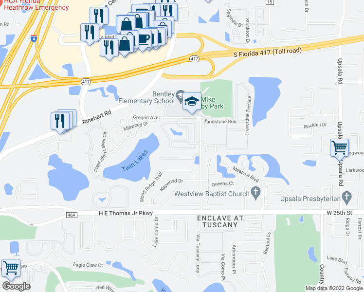 map of restaurants, bars, coffee shops, grocery stores, and more near 2151 Retreat View Circle in Sanford