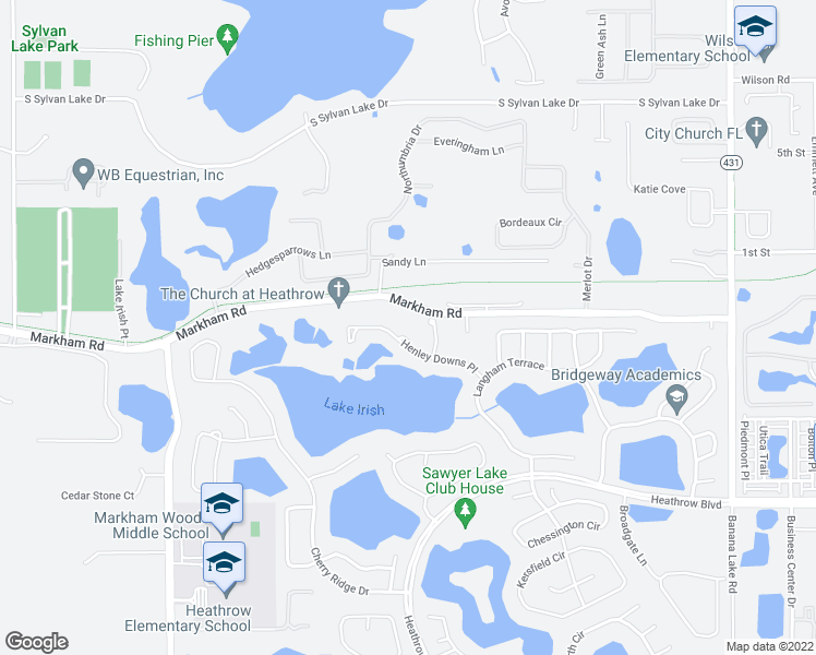 map of restaurants, bars, coffee shops, grocery stores, and more near 1059 Henley Downs Place in Lake Mary