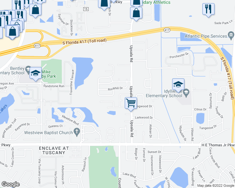 map of restaurants, bars, coffee shops, grocery stores, and more near 122 Monterey Oaks Drive in Sanford