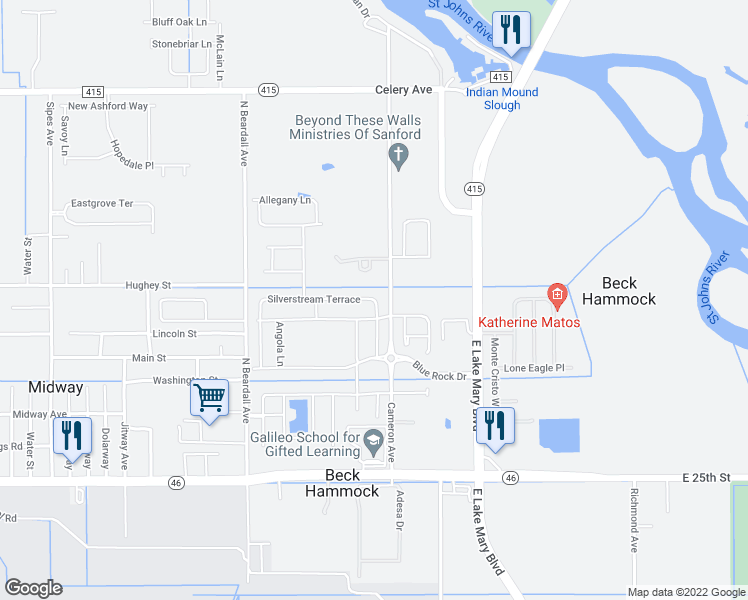 map of restaurants, bars, coffee shops, grocery stores, and more near 4001 Silverstream Terrace in Sanford