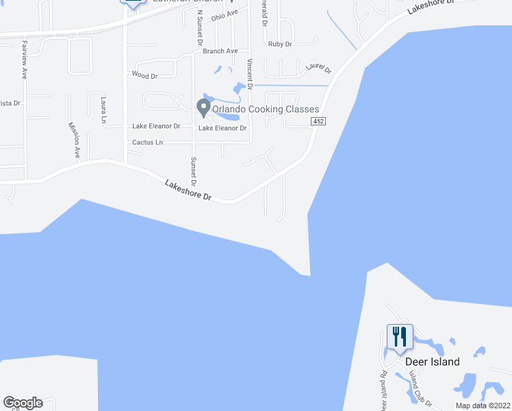 map of restaurants, bars, coffee shops, grocery stores, and more near 3520 Lakeshore Drive in Mount Dora