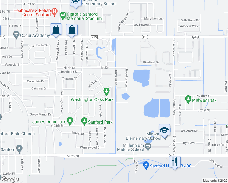 map of restaurants, bars, coffee shops, grocery stores, and more near 240 McKay Boulevard in Sanford
