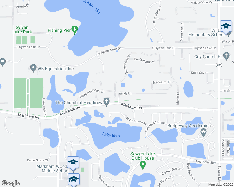 map of restaurants, bars, coffee shops, grocery stores, and more near 2403 North Umbria Drive in Sanford