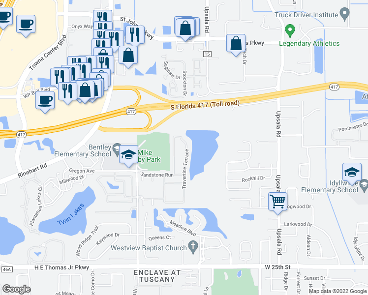 map of restaurants, bars, coffee shops, grocery stores, and more near 1507 Travertine Terrace in Sanford