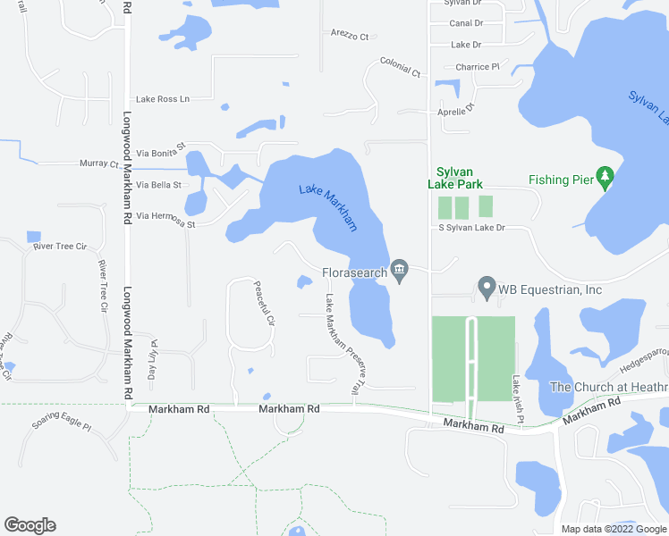 map of restaurants, bars, coffee shops, grocery stores, and more near 1911 Lake Markham Preserve Trail in Sanford