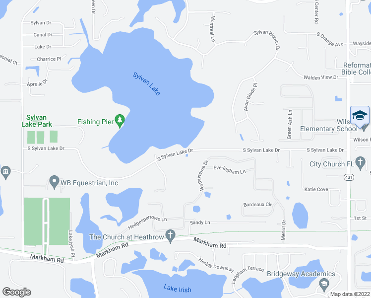 map of restaurants, bars, coffee shops, grocery stores, and more near 6320 South Sylvan Lake Drive in Sanford