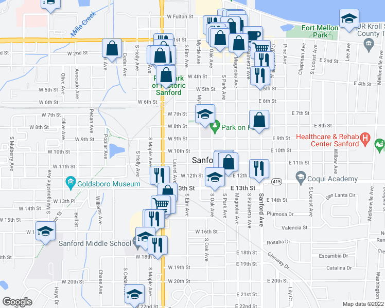 map of restaurants, bars, coffee shops, grocery stores, and more near in Sanford