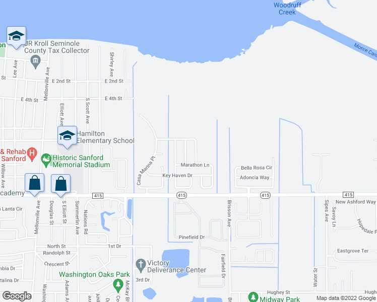 map of restaurants, bars, coffee shops, grocery stores, and more near 117 Islamorada Way in Sanford
