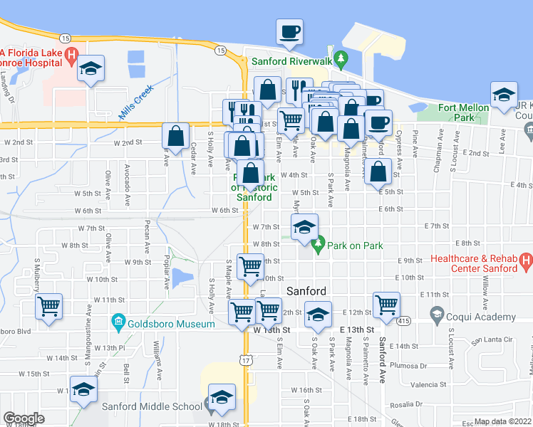 map of restaurants, bars, coffee shops, grocery stores, and more near 417 West 6th Street in Sanford