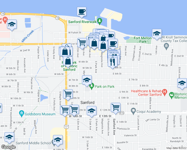 map of restaurants, bars, coffee shops, grocery stores, and more near 107 West 6th Street in Sanford