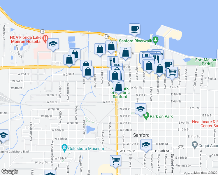 map of restaurants, bars, coffee shops, grocery stores, and more near 704 West 4th Street in Sanford