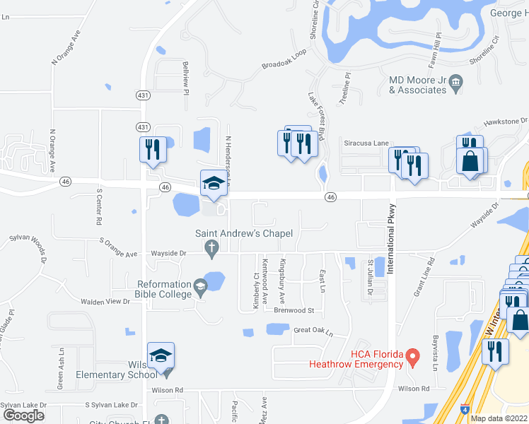 map of restaurants, bars, coffee shops, grocery stores, and more near 5433 Florida 46 in Sanford