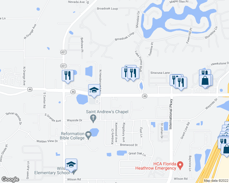 map of restaurants, bars, coffee shops, grocery stores, and more near 5188 Florida 46 in Mount Dora