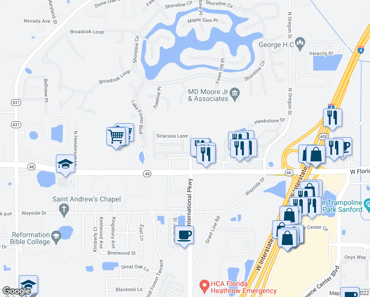 map of restaurants, bars, coffee shops, grocery stores, and more near 417 Livorno Way in Sanford