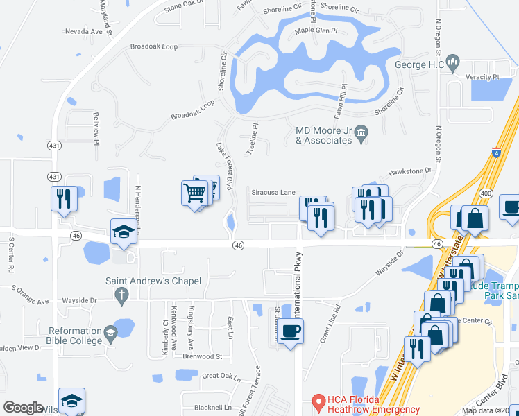 map of restaurants, bars, coffee shops, grocery stores, and more near 5415 Via Appia Way in Sanford