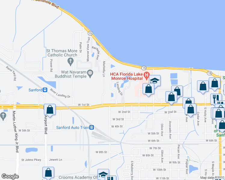 map of restaurants, bars, coffee shops, grocery stores, and more near 100 Willner Circle in Sanford