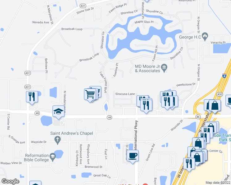 map of restaurants, bars, coffee shops, grocery stores, and more near 5640 Siracusa Lane in Sanford