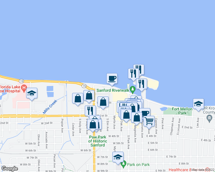 map of restaurants, bars, coffee shops, grocery stores, and more near 391 West Seminole Boulevard in Sanford