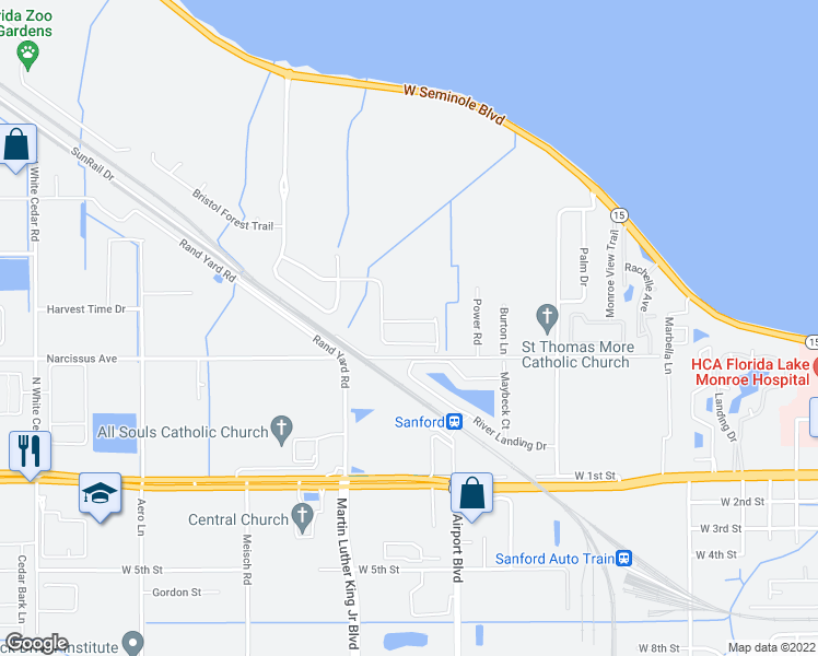 map of restaurants, bars, coffee shops, grocery stores, and more near 107 Wilson Bay Court in Sanford