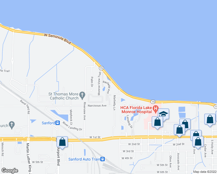map of restaurants, bars, coffee shops, grocery stores, and more near 2335 West Seminole Boulevard in Sanford