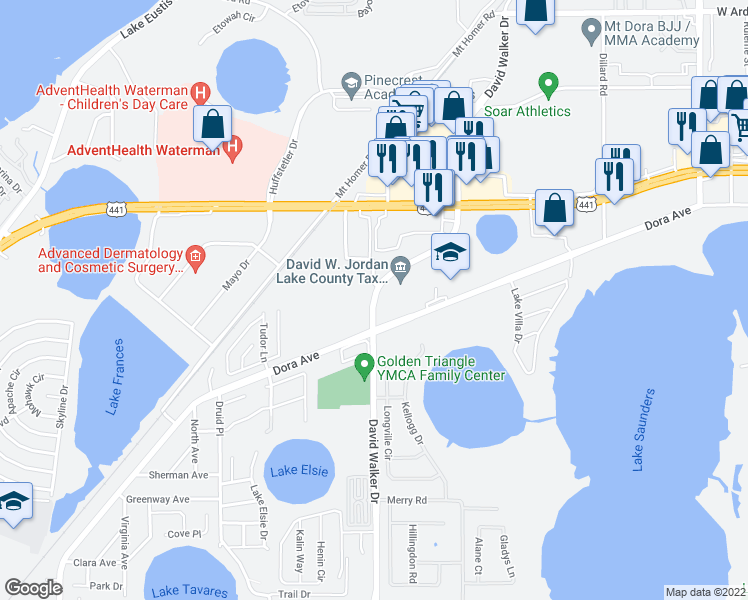 map of restaurants, bars, coffee shops, grocery stores, and more near 2750 David Walker Dr in Tavares